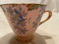 Tuscan Fine Bone China England Floral Forget Me Not Footed Tea Cup  W Gold Trim