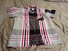 Lee Cooper Mens Peuple,Grey & Black Check/Stripe Shirt Size L