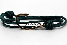 Handmade Solid Green Nautical Rope Cord Bronze Fish Hook Bracelet Fashion Trendy