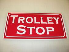 TROLLEY STOP Metal Sign Pharmacy Bar Greyhound Station Vintage Art Deco TRAIN