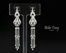 Elegant Classical 18K 750 White Gold Diamond Black Onyx Art Deco Design Earrings
