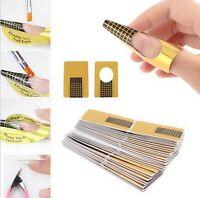 New 50PCS Forms Guide DIY Tools Acrylic UV Gel Gold Nails Art Tips Extension SL!