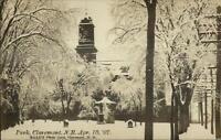 Claremont NH 1907 Snowstorm - Park Real Photo Postcard