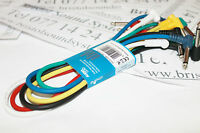 """190-223  6 x .5m  (approx 19.5"""") coloured Jack to Jack patch cables angled plugs"""