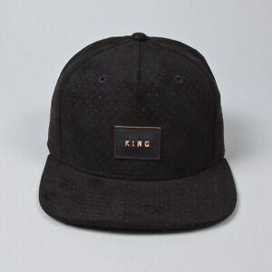 King Apparel Aesthetic Pinch Panel Snapback Cap - Black Suede