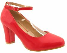 Womens Mid Size Block Heel High Gloss or Suede Buckled Ankle Strap Shoes Red PU Uk5 (eu38)