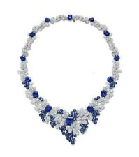 925 Sterling Silver Blue Emerald White Round Leaf Style Beautiful High Necklace