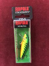 Rapala Countdown Sinking Balsa Lure CD-5 Firetiger New