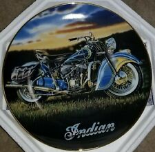 "Franklin Mint Collector Plate Indian ""The 1947 Indian Chief"" Motorcycle, Coa Nib"