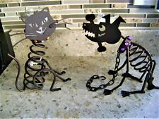 PartyLite Halloween Metal Stones Cat and Dog Sticks Candle Holders Retired L@K