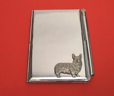 Corgi Dog Motif on Chrome Notebook / Card Holder & Pen Christmas Gift