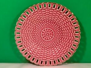 Antique Majolica Pink Basketweave Reticulated Lace Cut Plate c.1800's