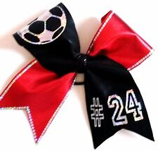 Soccer Softball Volleyball Cheer holographic Bling Spandex Hair bow w/ Spangles