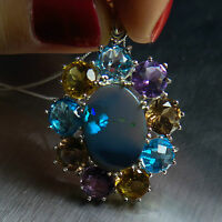 Natural Australian Black Opal 925 sterling silver necklace pendant
