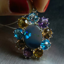Natural Australian Black Opal 925 sterling silver necklace pendant