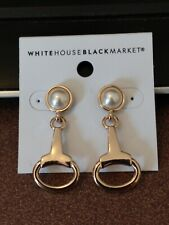 White House Black Market gold post earrings with pearl look stones