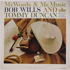 BOB WILLS + TOMMY DUNCAN: Mr. Words Music PROMO LIBERTY '61  Western Swing LP
