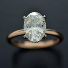 14k Rose Gold Plated 925 Silver 2.0ct Oval Sim Diamond Solitaire Engagement Ring