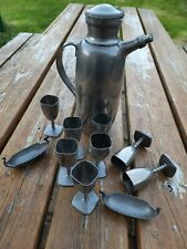 More details for norway pewter carafe or flask and 8 drinking vessels