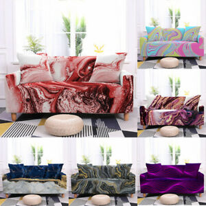 Marble Sofa Cover 3/4 Seat Non-slip  Elastic Couch CoverL Shape Protective Cover