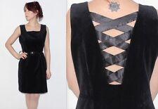 Vintage 90's 100% COTTON Plain Black CRISS CROSS BACK Straps Short Dress 12 14 M