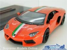 LAMORGHINI AVENTADOR LP700 MODEL CAR 1:38 SCALE ORANGE + CASE SPORTS KINSMART K8