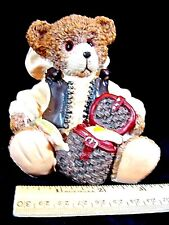 Fishing Teddy Bear Figurine/ Ornament w/ vest, creel basket,more~Gr8 4 Dads day