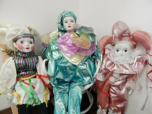 "Lot of 3 Harlequin Style 14""-28"" Clown/Jester Porcelain/Bisque Dolls, 1985-1992"