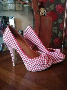 Dune Shoes Size 5 Gingham Pin-up Style Heels 50's peep toe