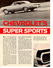 1967 CHEVROLET'S SUPER SPORTS ~ ORIGINAL 5-PAGE ARTICLE / AD
