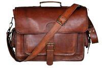 Large Genuine Vintage Leather Satchel Messenger Man HandBag Laptop Briefcase Bag