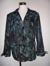 Oscar B Green & Black Patterned Jacket With Turn Back CuffsSize UK 14 Pre Loved