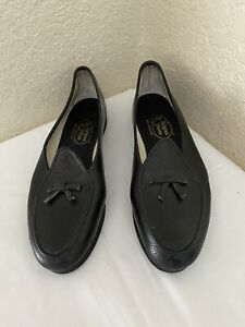Belgian Black Lizard Print Leather Bow Loafer Flats Women's US 7.5 N