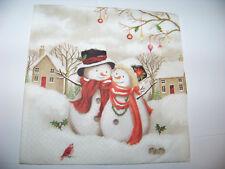 3  Servietten Weihnachten süße Schneemänner Schneemann Schneefrau Napkins