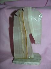 """Chess Piece Knight Horse Single Bookend Light Marble Book End 7 3/4"""" Figurine"""