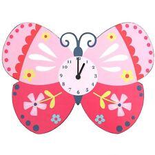 KIDS Cartoon butterfly clock in pink with flower design  H:27cm W:37cm D:4CM