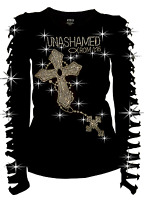 Unashamed Romans 1:16 Christian BLING RHINESTONE T-SHIRT RIPPED CUT Two Cross LO