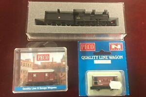 Graham Farish Fowler 4F (defect) & Peco NE Wagon and Brake Van (New) - N Gauge