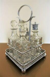 VINTAGE RAENO CHROME AND CUT GLASS CRUET SET BEAUTIFUL CONDITION