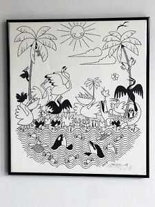 Extremely Rare Ikki Matsumoto  hand signed 1980 Black & White Framed Print