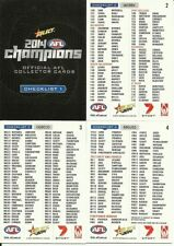 2014 AFL SELECT CHAMPIONS COMMON CHECKLIST SET 4 CARDS