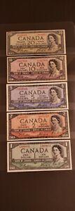 1954 Canada $1, $2, $5, $10 & $20. DEVIL FACE Banknotes. Various Grades.