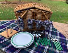 Vntg Picnic Time Wicker Picnic Basket, Tableware for 4 - Galena Cellars Glasses