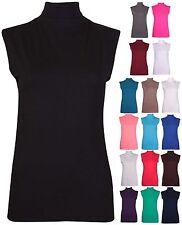 Womens Sleeveless Ladies Stretch Turtle Polo Neck Vest Plain T-Shirt Tunic Top