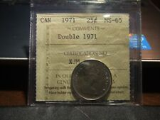 CANADA 25 CENTS 1971 ICCS MS-65 RARE DOUBLE DATE !!!!!