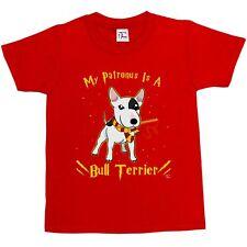 1Tee Niños Niñas Mi Patronus es un Bull Terrier Perro Camiseta