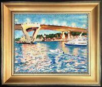 Fort Lauderdale Florida Bridge Sunset Original Oil Painting Landscape Fine Art