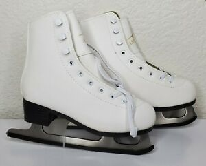 American Athletic Shoe Girl's Lined Ice Skates Size 3 (White)