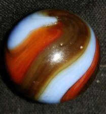 "Marbles: Rare Nr-mt 23/32"" Blended Blue, Red, Brown, Orange Akro Agate Corkscrew"