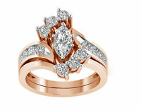 3.00 Ct Marquise Cut Diamond 14k Rose Gold Over Womens Cluster Engagement Ring